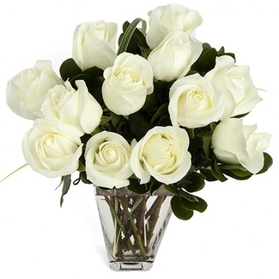 Dozen White Medium-Stem Roses in Vase