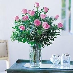 Dozen Pink Roses in Vase