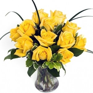 Dozen Yellow Medium-Stem Roses in Vase