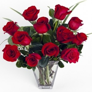 Dozen Red Medium-Stem Roses in Vase