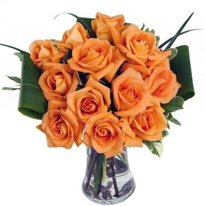 Dozen Orange Medium-Stem Roses in Vase