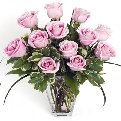 Dozen Pink Medium-Stem Roses in Vase