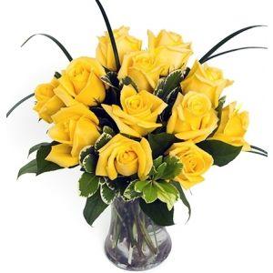 Dozen Yellow Medium-Stem Roses in Vase