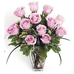 Dozen Pink Medium-Stem Roses in Vase