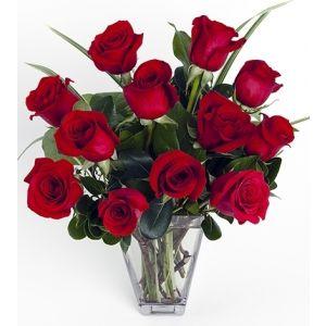 Dozen Red Medium-Stem Roses in Vase